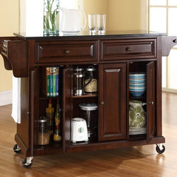Crosley Furniture - Kitchen Cart in Mahogany Finish - 3 Adjustable shelves. Solid Black Granite Top. 2 Drawers. 4 Beautiful raised panel doors. 2 Heavy duty locking casters for stability. Solid hardwood and veneer construction. Hand rubbed multi-step finish. Spice rack with towel bar and paper towel holder. Assembly required. 1-Year manufacturer's warranty. 52 in. L x 18 in. W x 36 in. H (160.5 lbs.)
