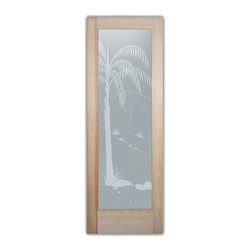 """Bathroom Doors - Interior Glass Doors Frosted - - CUSTOMIZE YOUR INTERIOR GLASS DOOR!  Interior glass doors or glass door inserts.  .Block the view, but brighten the look with a beautiful interior glass door featuring a custom frosted privacy glass design by Sans Soucie! Suitable for bathroom or bedroom doors, there are no clear areas on this glass.  All surface areas are etched/frosted to be 100% opaque.  Note that anything pressed up against the glass is visible, and shapes and shadows can be seen within approx. 5-12"""" of the glass.  Anything 5-12"""" from the glass surface will become obscured.  Beyond that distance, only lights and shadows will be discernible. Doors ship for just $99 to most states, $159 to some East coast regions, custom packed and fully insured with a 1-4 day transit time.  Available any size, as interior door glass insert only or pre-installed in an interior door frame, with 8 wood types available.  ETA will vary 3-8 weeks depending on glass & door type........  Select from dozens of sandblast etched obscure glass designs!  Sans Soucie creates their interior glass door designs thru sandblasting the glass in different ways which create not only different levels of privacy, but different levels in price.  Bathroom doors, laundry room doors and glass pantry doors with frosted glass designs by Sans Soucie become the conversation piece of any room.   Choose from the highest quality and largest selection of frosted decorative glass interior doors available anywhere!   The """"same design, done different"""" - with no limit to design, there's something for every decor, regardless of style.  Inside our fun, easy to use online Glass and Door Designer at sanssoucie.com, you'll get instant pricing on everything as YOU customize your door and the glass, just the way YOU want it, to compliment and coordinate with your decor.   When you're all finished designing, you can place your order right there online!  Glass and doors ship worldwide, custom packed in-house, fu"""