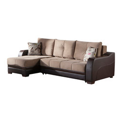 Istikbal - Ultra Lilyum Vizon Sectional Sofa - Leatherette armrests with espresso-colored detailing add a modern flair to your home. Contemporary upholstery comes with exclusive tailoring and fine detailing. Heighten the overall modern appearance of your living room space with this Ultra Lilyum Vizon Sectional Sofa. The soft and inviting Ultra Collection comes with tufted cushions and decorative contrasting pillows.