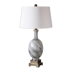 Uttermost - Grigio Gray Glass Lamp - Work this touch of gray into your favorite room for a classy and sophisticated look. The smokey glass design, paired with the chrome details and crisp shade, makes for an ultrachic table lamp. Place it next to your sofa for nightly reading or on a credenza as a beautiful accent piece.