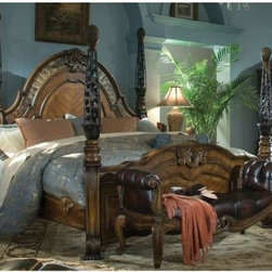 AICO Furniture - Oppulente Poster Bed in Sienna Spice - 6702/6701/6703 - Set includes Poster Queen Bed