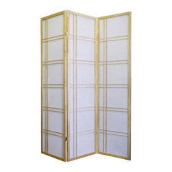 ORE International - Girard 3-Panel Room Divider - Natural - Ideal as a partition or simply a background decorative piece, these room dividers add the perfect statement of elegance and beauty to any environment. Crafted with the finest materials, these high quality room dividers can add tranquility and privacy while enhancing the look to your room. These room dividers come fully assembled with a 30-Day warranty.