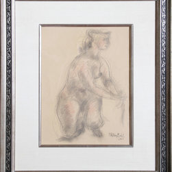 Chaim Gross, Nude woman, Graphite and Color Pencil Drawing - Artist:  Chaim Gross, Austrian (1904 - 1991)