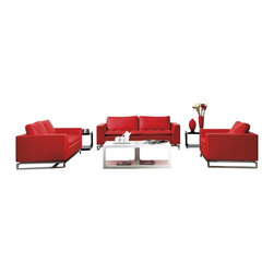 VIG Furniture - Manhattan Red Top Grain Leather Three Piece Sofa Set - The Manhattan sofa set will add a modern touch to any decor while having you relax in comfort. This sofa set comes upholstered in a beautiful red top grain leather in the front where your body touches. Carefully chosen match material is used on the back and sides where contact is minimal. High density foam is placed within the cushions for added comfort. Attached to the bottom of each piece is a stainless steel leg frame with a polished chrome finish. The sofa set includes one sofa, loveseat, and chair only.
