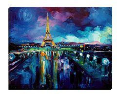 "DiaNoche Designs - Parisian Night Eiffel Tower Illuminated Wall Art - Illuminated Wall Art by DiaNoche Designs, brings continous art 24 hours a day.  Art during the day... flip a switch, and at night, it's a light!  Art by Aja-Ann - Parisian Night Eiffel Tower.  DiaNoche Designs illuminates artwork from behind using LED's designed to last 50,000 hours.  The ""Art Today, Light Tonight"" concept gives each customer an opportunity to enjoy their artwork 24 hours a day! DiaNoche Designs uses images from artists all over world and literally ""Brings to Light"" their  astonishing works.   Your power cord can be hidden by a simple cable organizer or cable raceway, that commonly hides speaker wire on a wall.  This can be purchased at any home improvement store and you can also paint over it."