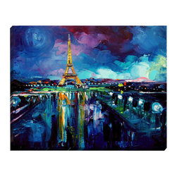 "DiaNoche Designs - Parisian Night Eiffel Tower Illuminated Wall Art - Illuminated Wall Art by Dianoche Designs, brings continuous art 24 hours a day. Art during the day... flip a switch, and at night, it is a light! Art by Aja-Ann - Parisian Night Eiffel Tower. Dianoche Designs illuminates artwork from behind using LED's designed to last 50,000 hours. The ""Art Today, Light Tonight"" concept gives each customer an opportunity to enjoy their artwork 24 hours a day! Dianoche Designs uses images from artists all over world and literally ""Brings to Light"" their astonishing works. Your power cord can be hidden by a simple cable organizer or cable raceway, that commonly hides speaker wire on a wall. This can be purchased at any home improvement store and you can also paint over it."