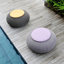 Lebello - Modern Round Outdoor Pouf / Seating - Mega Spinball - The Mega Spinball by Lebello is the bigger brother of the Spinball larger outdoor seating poufs that can accommodate 2 guest. The design is available in endless color combinations, making the design work for many applications. Accent seat cushions are finished in Sunbrella with quick dry foam.