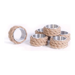 Go Home - Coastal Napkin Rings- Set of 6 - This set of six napkin rings are perfect for your next beach themed dinner party. Delicately wrapped in nautical style rope, these give just the right amount of coastal flair to your table setting. Pair with crisp linen napkins, and our Malaga Dinnerware for the perfect beachy look!