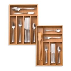 """Millwork Trading Company, Ltd. - Bamboo Cutlery Tray - Store your cutlery in style with this strong and durable cutlery tray. Smooth, attractive tray has plenty of roomy storage slots to fit all your needs. Measures 14"""" L x 10 1/4"""" W x 2"""" H."""