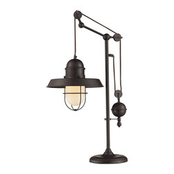 ELK - ELK 65072-1 Table Lamp - Inspired By Antique Lighting, This Series Recalls Turn-Of The Century Design Where Simple Aesthetics And Mechanical Function Combined To Create Charming, Yet Versatile Fixtures. These Classic Pull-Downs Have A Decorative Weight That Counterbalances The Fixture For Easy Height Adjustability Anytimeby Simply Pulling Down Or Lifting Up On The Fixture.