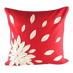 Design Accents Applique Flower Pillow - 20L x 20W in. - Mix and match colors for a bouquet of style with the ultra contemporary Design Accents Applique Flower Pillow - 20L x 20W in. on your sofa, chair, or bed. Made of high-quality felt fabric, this modern pillow features a distinctive floral pattern. A polyester / polyfill insert gives great shape, and it's available in various colors so you can get the perfect customized look.