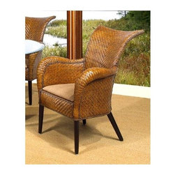 Boca Rattan - Grand Bahama Rattan Dining Arm Chair in Urban - Fabric: 641Curved serpentine arms and a winged back give this dining arm chair a striking look that will be a bold addition to your casual dining decor. The chair is crafted of woven rattan in urban mahogany finish and features a cushion seat in your choice of fabric options. Cushion included. Leather bindings. Constructed from strong and durable rattan. 36 in. W x 29 in. D x 36 in. H (25 lbs.)