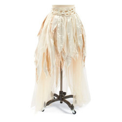 "Grandin Road - Angel Skirt - Halloween Decorations and Decor - High/low-hemmed skirt. Made with layers of gossamer tulle arranged with velvet, satin, and lace ""feathers"" in ivory and white. Wide v-shaped chiffon waistband, embellished with a beaded floral pattern. Waistband adjusts with a hook-and-loop closure. Select S/M or L/XL. Our Angel Skirt is so stunning and otherworldly; you'll be transformed the moment you slip it on. Beware: the touchable fabrics and exquisite details will take your breath away. Complete the ensemble with our matching Angel Wings (sold separately).  .  .  .  .  . A Grandin Road exclusive. Imported."