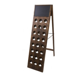 "Bambeco 24 Bottle Found Wine Riddling Rack - Bask in the finer pleasures of European life in the 1930s Our 24 Bottle Found Wine Riddling Rack is topped with a chalkboard for you to personalize. Originally used to ensure sediment didn't settle at the bottom of a bottle, this found vintage riddler makes a stunning and sustainable wine rack for your home. Indulge in the sensual pleasures of life well lived, all in sustainable style.  Dimensions: 18""W x 50.5""H x 13.5""D."