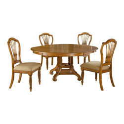 Hillsdale Furniture - Hillsdale Wilshire 5-Piece Round Dining Room Set w/ Side Chairs in Antique Pine - The Wilshire collection features a blend of cottage styling with country accented details. The blend of Americana and English country gives the Wilshire collection a look and feel that will enhance any home. The craftsmanship is evident in each piece. Opening a drawer is a reflection of old world craftsmanship, complete with tongue and groove drawer bottoms, English dovetail drawer construction and thick solid wood drawers. Finishes have been painstakingly applied to give years of enjoyment.