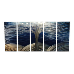 Miles Shay - Metal Wall Art Decor Abstract Contemporary Modern Sculpture - Tree of Life Large - This Abstract Metal Wall Art & Sculpture captures the interplay of the highlights and shadows and creates a new three dimensional sense of movement as your view it from different angles.