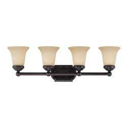Savoy House Lighting - Savoy House Lighting 8P-60500-4-13 Bath Bar Traditional Bathroom Light - This transitional collection has a rich English Bronze finish perfectly complemented by Tinted Scavo glass.