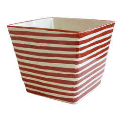 Talavera Vazquez - Square Planter - Orange Stripes - Grow your favorite plants or flowers in this imported, hand-crafted ceramic planter. Its pattern brings a modern vibe to a traditional Mexican motif for fun fiesta flair.