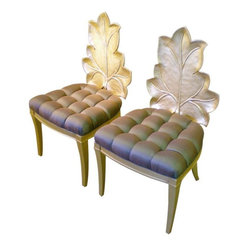 Italian Leaf Back Accent Chairs -Pair