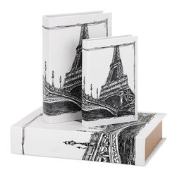 "Imax - Paris Eiffel Tower Travel Book Boxes - Set of 3 - *Dimensions: 1.25-2-3""h x 5.75-6.75-8.75""w x 8.50-10.25-13"""
