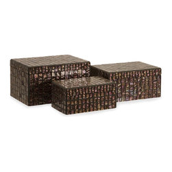 iMax - iMax Orchid Mosaic Boxes - Set of 3 X-3-6591 - Whether used in your bedroom to store your jewelry, near your home theater for keeping remote controls and other necessities close at hand, or simply as a beautiful accent to your home decor, this set of decorative boxes will soon become a favorite part of your space. With a mosaic of small, iridescent tiles decorating each, these pieces will bring an new level of depth and interest into any style of home decor. For a coordinated look purchase matching vases.