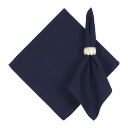Traders and Company - Handwoven Cotton Napkins, Midnight Blue, Set of 6 - Imported hand-loomed 100% cotton napkins add a mark of color and elegance to your dining table. Napkin ring not included. Machine washable with similar colors in cold water, and cool dry. Made in India.