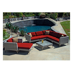Ibis 8-Piece Modern Patio Sectional Set, Henna Cushions