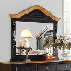 """Coaster - Oleta Mirror - Create a beautiful focal point for your master bedroom with the stunning Oleta bedroom collection. The arched shutter headboard with simple molding and low-profile footboard adds to the classic country cottage style. Matching pieces come in a rich black finish with attractive oak tops. Enjoy a calm and tranquil setting while you relax in bed with a morning cup of coffee with help from the Oleta collection. Collection: Oleta; Style: Country; Finish/Color: Black/Oak Finish; Dimensions: 46.50""""L x 3.25""""W x 44.25""""H"""