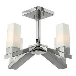Frederick Ramond - Fredrick Ramond Omni 16 in. 4-Light Semi Foyer - The modern, minimal style of Omni features a unique four-sided arm in a Polished Nickel finish. The tall, square etched opal glass clips into a cast fitter, creating a striking silhouette.