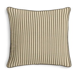 Taupe Ticking Stripe Corded Throw Pillow - Black and white photos, Louis XIV chairs, crown molding: classic is always classy. So it is with this long-time decorator's favorite: the Corded Throw Pillow.  We love it in this traditional taupe & ivory ticking stripe woven in super soft cotton.