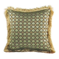 "CCCC-P-1035 - Umass Black Diamond Pattern Print 20"" x 20"" Throw Pillow with Brush Fringe Trim - Umass black diamond pattern print 20"" x 20"" throw pillow with brush fringe trim. Measures 20"" x 20"" made with a blown in foam and also available with feather down inserts at additional costs, search for down insert upgrade to add the up charge to your order. These are custom made in the U.S.A and take 4- 6 weeks lead time for production."