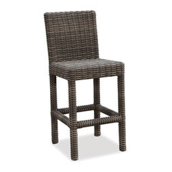 Thos. Baker - hampton bar stool - Oversized seating in all-weather wicker with a slightly weathered look inspired by classic whitewashed country home styles. Premium, dyed-through resin wicker with an extra large diameter profile and elegant ocean gray finish. Powder-coated aluminum subframe and brushed aluminum feet.