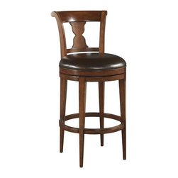EuroLux Home - New Bar Stool Cocoa Brown Leather Swivel - Product Details