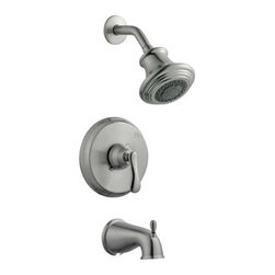 Design House - Design House 525782 Madison Tub and Shower Faucet, Satin Nickel Finish - The Design House 525782 Madison Tub and Shower Faucet features a single handle design to easily adjust the temperature in your bathtub or shower. Finished in satin nickel, this faucet set is refined and elegant with a washerless cartridge. The brass waterways contain zinc and copper which are known to prevent antimicrobial growth ensuring safe and clean water for your family. The washerless construction reduces leakage problems that can result from worn washers, while the simple design aids in low-maintenance upkeep. This adjustable shower head and tub spout has a traditional configuration with unique vintage accents that can easily match any color scheme or style in your bathroom. This single function shower head is pressure balanced with a 2.1-gallon per minute flow rate which ensures a steady water flow after years of everyday use and is UPC, ADA and cUPC compliant. This faucet has a brass valve body, ABS shower head, brass shower arm, zinc flange and spout and a quarter turn stop lever handle operation. The pull-up diverter spout will quickly disperse water out of the shower head. The Design House 525782 Madison Tub and Shower Faucet comes with a lifetime limited warranty that protects against defects in materials and workmanship. Design House offers products in multiple home decor categories including lighting, ceiling fans, hardware and plumbing products. With years of hands-on experience, Design House understands every aspect of the home decor industry, and devotes itself to providing quality products across the home decor spectrum. Providing value to their customers, Design House uses industry leading merchandising solutions and innovative programs. Design House is committed to providing high quality products for your home improvement projects.