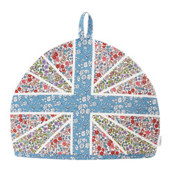 "Union Jack Liberty Print Tea Cozy, Liberty London - This Union Jack teapot cozy quilted from lovely Liberty floral prints would go a long way to cheer up the kitchen counter or breakfast table. Just add soft-boiled eggs and toast ""soldiers""."