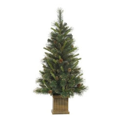 Vickerman Gold Glitter Tip Pine Pre-Lit Christmas Tree - Classic and elegant, the Vickerman Gold Glitter Tip Pine Pre-Lit Christmas Tree is lit up with an abundance of lights that add a merry glow to this tree. Beautifully designed and decorated with gold tips and pinecones, this tree adds traditional holiday beauty to your Christmas decor. Specifications for 4-Foot Tree Shape: Medium Base Width: 22 inches Number of Bulbs: 100 Number of Tips: 230 Specifications for 5-Foot Tree Shape: Medium Base Width: 28 inches Number of Bulbs: 150 Number of Tips: 386 Don't Forget to Fluff!Simply start at the top and work in a spiral motion down the tree. For best results, you'll want to start from the inside and work out, making sure to touch every branch, positioning them up and down in a variety of ways, checking for any open spaces as you go.As you work your way down, the spiral motion will ensure that you won't have any gaps. And by touching every branch you'll create the desired full, natural look. About VickermanThis product is proudly made by Vickerman; a leader in high quality holiday decor. Founded in 1940; the Vickerman Company has established itself as an innovative company dedicated to exceeding the expectations of their customers. With a wide variety of remarkably realistic looking foliage; greenery and beautiful trees; Vickerman is a name you can trust for helping you create beloved holiday memories year after year.