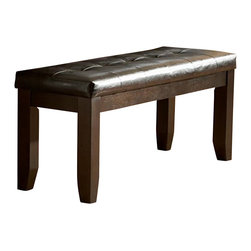 Homelegance - Homelegance Hawn 48 Inch Bench with Dark Brown Vinyl Seat - Drawing from the basic form of the Arts & Crafts movement and subtly adding modern lines, casual dining will never look the same in your home with the addition of the Hawn collection . A rich Walnut finish highlights the walnut veneer on this substantially sized table. Double X-back chairs feature a dark brown bi-cast vinyl seat that compliments the table and accompanying buffet server. Additional seating in the form of a tufted bench is also available.