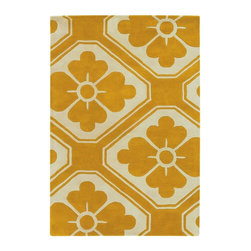Chandra - Contemporary Thomaspaul 3'x5' Rectangle Yellow-White Area Rug - The Thomaspaul area rug Collection offers an affordable assortment of Contemporary stylings. Thomaspaul features a blend of natural Yellow-White color. Hand Tufted of New Zealand Wool the Thomaspaul Collection is an intriguing compliment to any decor.