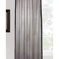 Vintage House by Park B. Smith Eco Leno Tab Top Panel - A bold border and button detailing make the Vintage House by Park B. Smith Eco Leno Tab Top Panel a stylish addition to your space. This curtain panel comes in a variety of handsome color options and hangs via wide tabs that add a touch of casual charm.