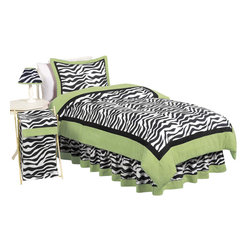 Sweet Jojo Designs - Green Zebra Children's Bedding Set Twin 4-Piece - The Green Zebra Children's Bedding Set by Sweet Jojo Designs will help you create an incredible room for your child. This children's bedding set features a super contemporary zebra print fabric paired with vivid solids to create a graphic, modern look. This collection uses the stylish colors of lime, black and white. The design uses 100% cotton fabrics that are machine washable for easy care. This wonderful set is available in a twin and full/queen size.