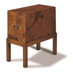 Sherrill Occasional - Sherrill Occasional Chairside Chest 810-465 - This unusual box-on-stand is made in Italy. The box is made of walnut burl veneers and the base is chestnut.