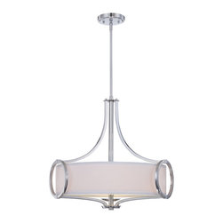 Designers Fountain - Designers Fountain Mirage Drum Shade Pendant Light in Chrome - Shown in picture: Mirage Pendant in Chrome finish with White Fabric shades