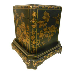 Oriental furnishings - Hand Painted Oriental Black Lacquer Stacking Box - This rare square set of stacking boxes is unusual in it shape and gold line floral and bird hand painting. This lost art form of Chinese furniture building is called Coromandel and uses a technique of layering canvas and lacquer on to a wooden body to make a smooth lacquer finish. Hands painted floral are intertwined to make this art piece. This cube shaped stacking box is used as a lingerie or jewelry box for weddings. This set is used for storage of valuables and offers allot of design possibility. Use the table separate or with the boxes for a Asian flair in any room. Use as a end table, night stand, tray set, stool or an Asian accent on your floor.