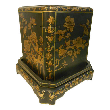 Oriental furnishings - Hand Painted Oriental Black Lacquer Stacking