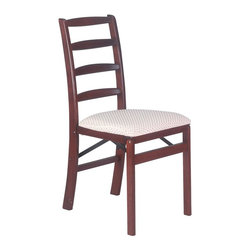Stakmore - Shaker Ladderback Wood Folding Chair in Warm - Set of 2. Four curved back rails. Clean shaker line. Steel folding mechanism. Padded upholstered seat. Folds up to 7 in. deep for storage. Made from solid hardwood. No assembly required. 19.25 in. W x 16.5 in. D x 35.25 in. H. Seat height: 18.75 in.