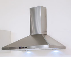 Kitchen Bath Collection - 30-in Stainless Steel Wall Hood by Kitchen Bath Collection - The 30-inch wall-mounted stainless steel range hood by Kitchen Bath Collection features a two-piece adjustable chimney with sleek curved edges, no visible welded seam on any of the three faces of the chimney, touch screen control panel, two LED lights, and three speed settings. It includes a flexible aluminum duct for easy attachment to the wall or ceiling, aluminum micro-cell grease filters (dishwasher friendly), a UL-certified motor, and charcoal carbon filters for optional vent-less installation (no additional kit required). Made from high quality 304 stainless steel.