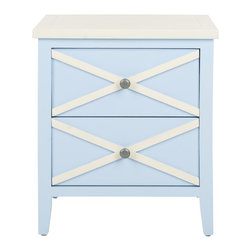 Safavieh - Sherrilyn 2 Drawer Side Table - Light Blue - The classic style of the Sherrilyn 2-drawer side table gets updated in a fresh light blue finish with charming contrasting white top and x-details on the drawers. A perfect companion bedside or beside a sofa.