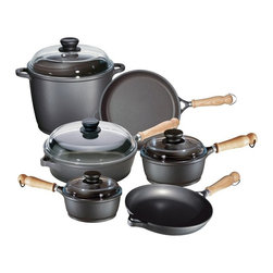 Berndes - Berndes Tradition 10-Piece Set - 674103 - Shop for Cookware Sets from Hayneedle.com! Whether you're just starting out or are looking to upgrade your cookware the Berndes Tradition 10-Piece Set is the perfect set for anyone who loves to cook.Everything you need to create a great meal is included in the Tradition 10-Piece Set; 9.5 inch and 11 inch skillets a 9.5 inch saute pan with glass lid 1.25 quart and 2 quart saucepans with glass lids and a 10 quart stock pot with glass lid. All Berndes cookware is made with superior vacuum-pressure cast aluminum plus the non-stick surface is designed to never chip crack blister or peel. Oils and cooking sprays are not needed so healthy meals are easy and fun to cook.About Berndes.Founded in 1921 Berndes has designed and manufactured high-quality functional and practical cookware. Their products stand out among the rest. Berndes provides consumers with a complete range of cookware including: high-tech non-stick cast aluminum cookware heavy-gauge aluminum non-stick pans clay cookery and stainless steel cookware.The Berndes name is associated with superior quality and innovative cookware available for any taste type and budget. With a sense of responsibility for mankind and the environment Berndes makes sure that environmental protection plays an important role in the corporate policy as they go above and beyond environmental protection laws. The Berndes Environmental Declaration was one of the first in the household goods sectors to be declared valid by Gerling Cert Umweltgutachter GmbH Cologne in 2000.Range Kleen Mfg. Inc. located in Lima OH is the official retail distributor of Berndes brand cookware throughout the United States.