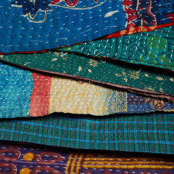 Single Vintage Kantha Throw - These colorful, one-of-a-kind throws are handmade in India from vintage saris. Surprise someone with one of these unique throws.