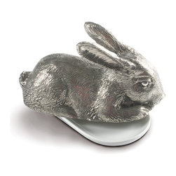 Vagabond House - Rabbit Pewter Butter Dish - The Rabbit Butter Dish features a lid cast as a delightfully detailed, figural pewter bunny rabbit . This little bunny has such gentle, soulful eyes, he will steal your heart while keeping your butter cool. The rabbit rests upon a butter plate crafted of lustrous, white stoneware.